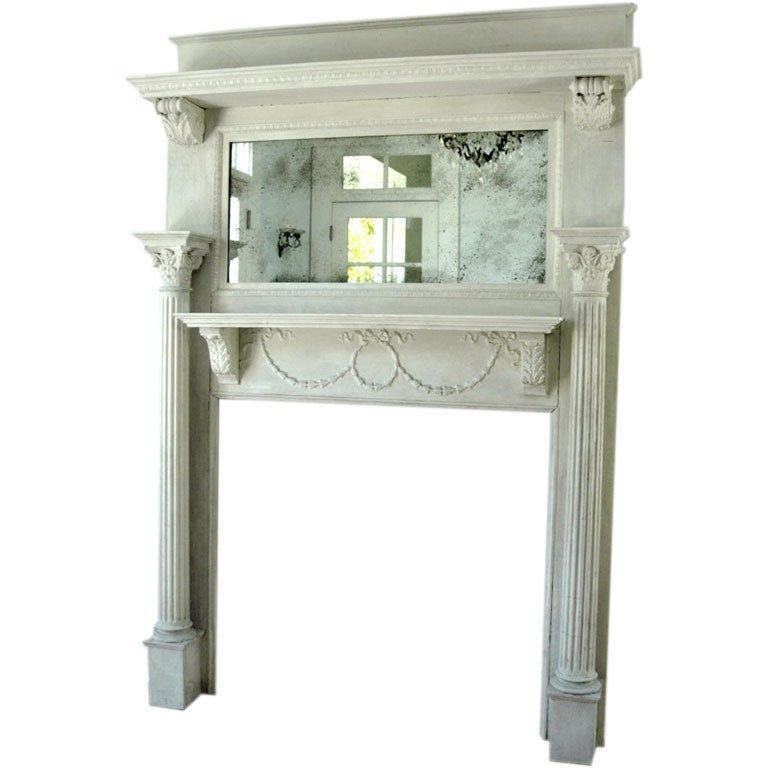 Large Antique Architectural Element Mantel With Mirror At