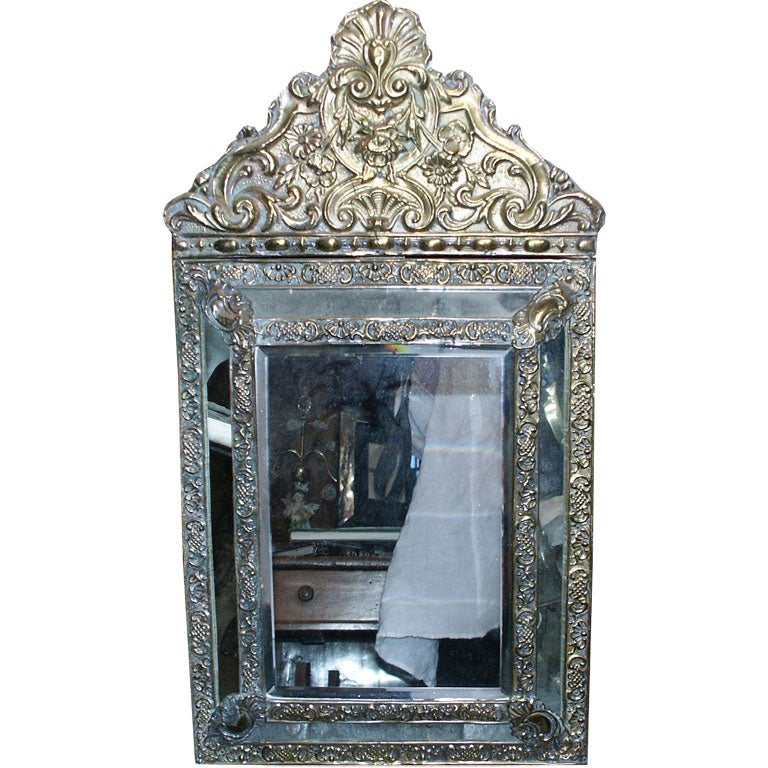 Small brass and glass repousse baroque mirror at 1stdibs for Small baroque mirror