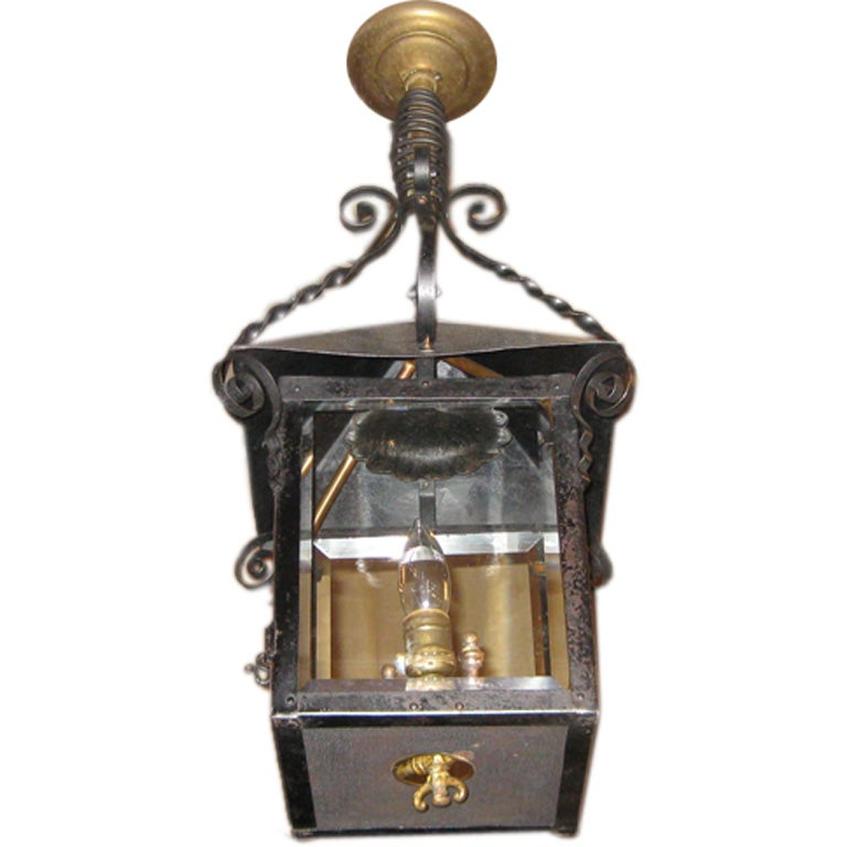Antique Gas Lantern In Tole Now Electrified At 1stdibs