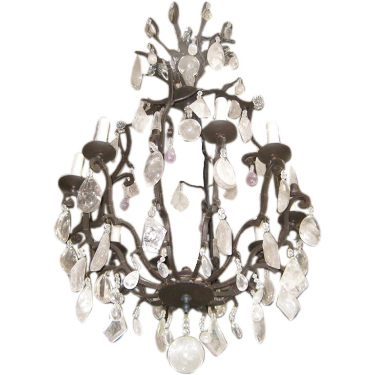 Large Iron And Rock Crystal Chandelier At 1stdibs