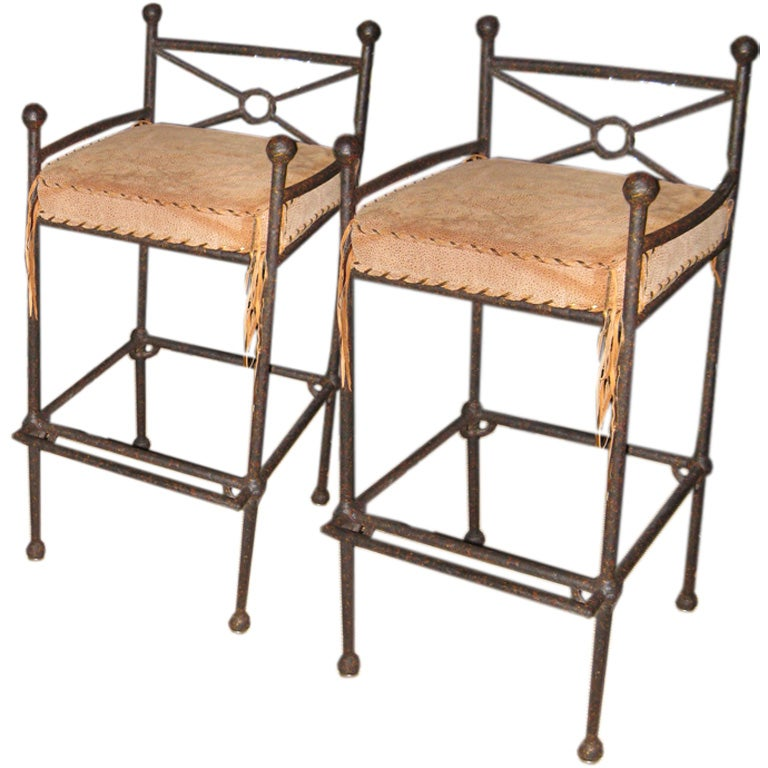 Pair of Bar Stools with Leather Seat Cushions at 1stdibs : 011109042 from www.1stdibs.com size 768 x 768 jpeg 73kB