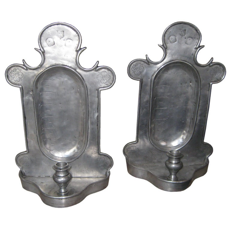 Pair Of Pewter Sconces In The Antique Style At 1stdibs