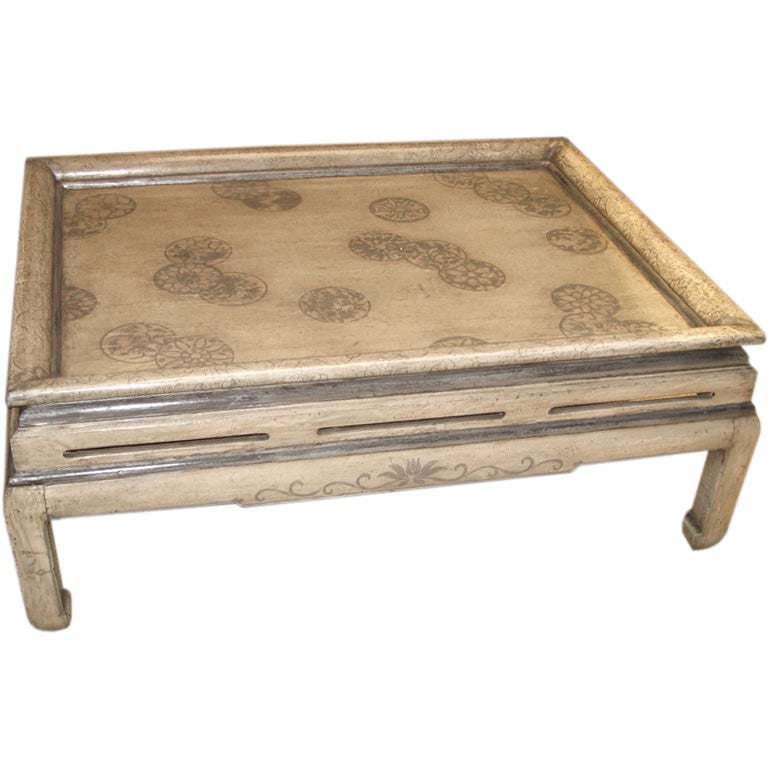 Asian Style Coffee Table In Painted Leather At 1stdibs