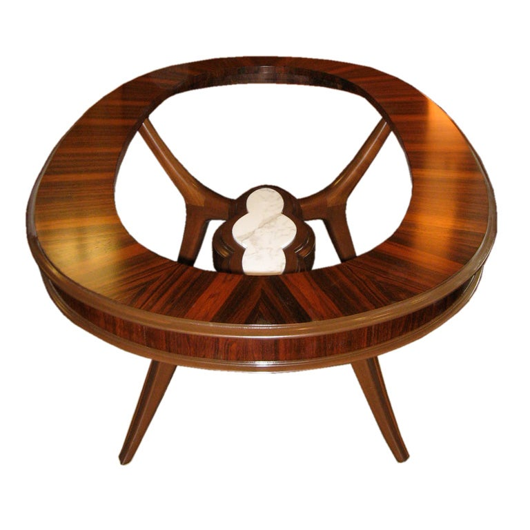 Oval Mid Century Dining Table In Rosewood Mahogany And Marble At
