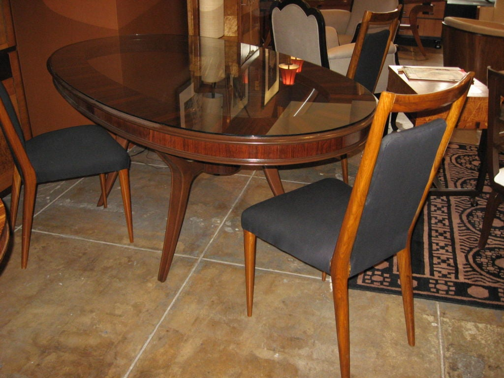 oval mid century dining table in rosewood mahogany and marble at 1stdibs. Black Bedroom Furniture Sets. Home Design Ideas