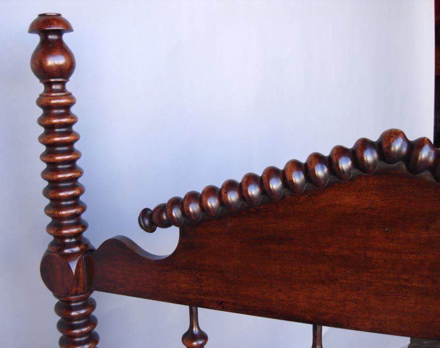 Custom Mahogany Wood Bobbin Spool Twin Bed by Dos Gallos 3