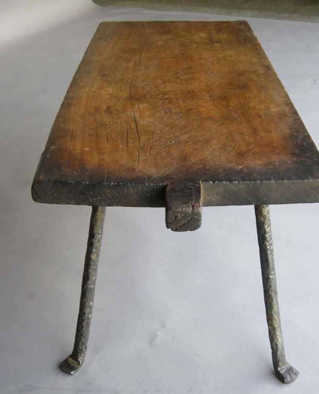 19th C Batea Tray Table With Hand Wrought Iron Legs At 1stdibs