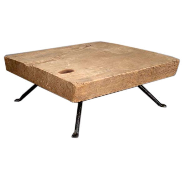 Reclaimed tropical wood coffee table w hand wrought iron for Wood coffee table with iron legs