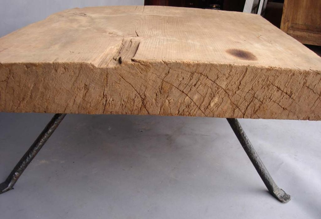 Reclaimed Tropical Wood Coffee Table W Hand Wrought Iron Legs Image 6