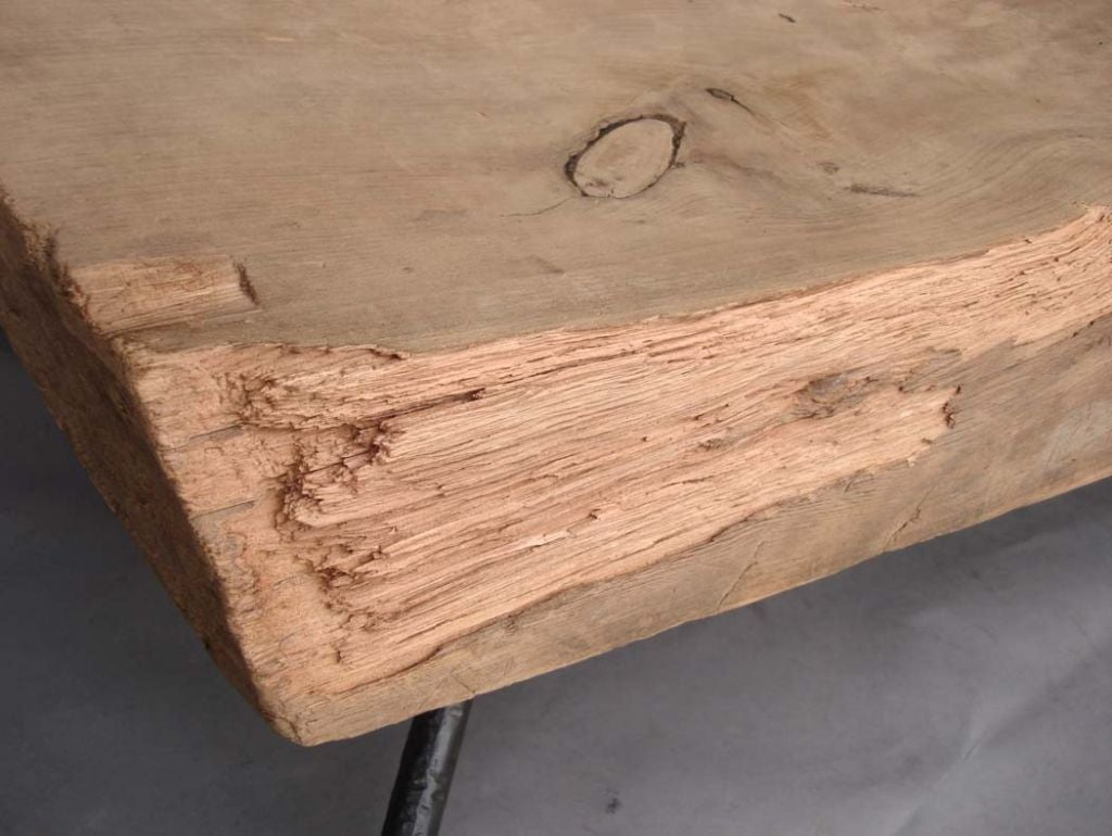Reclaimed Tropical Wood Coffee Table W Hand Wrought Iron Legs Image 9
