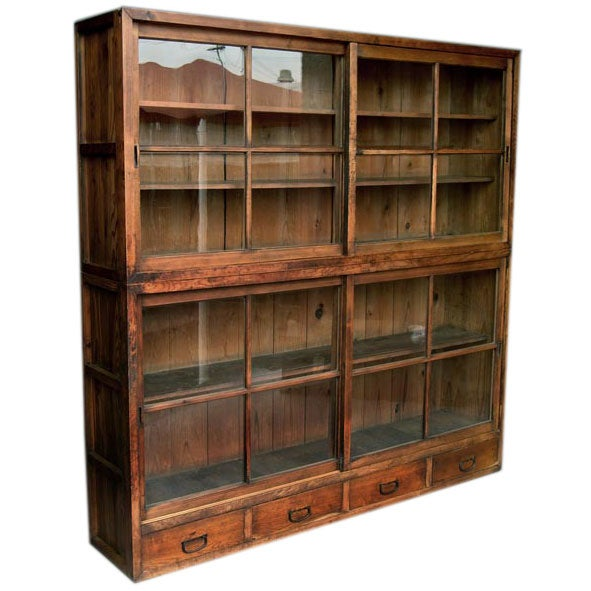 Japanese Glass Front Tansu Cabinet With Sliding Doors At 1stdibs
