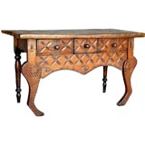 Antique Carved Narrow Table With Carvings and Stylized Animal Front Legs