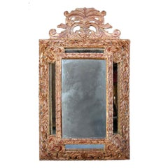 Pair of Hand Carved Large Scale Wooden Mirrors