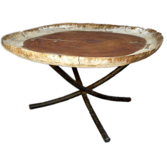 Pickford Coffee Table Bronze: Solid Conacaste Wood Coffee Table With Bronze Mariposas At