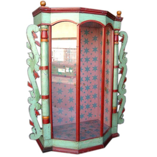 Very Large 19th Antique Painted Saint Display Case