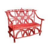 Vintage Red Adirondack Bench