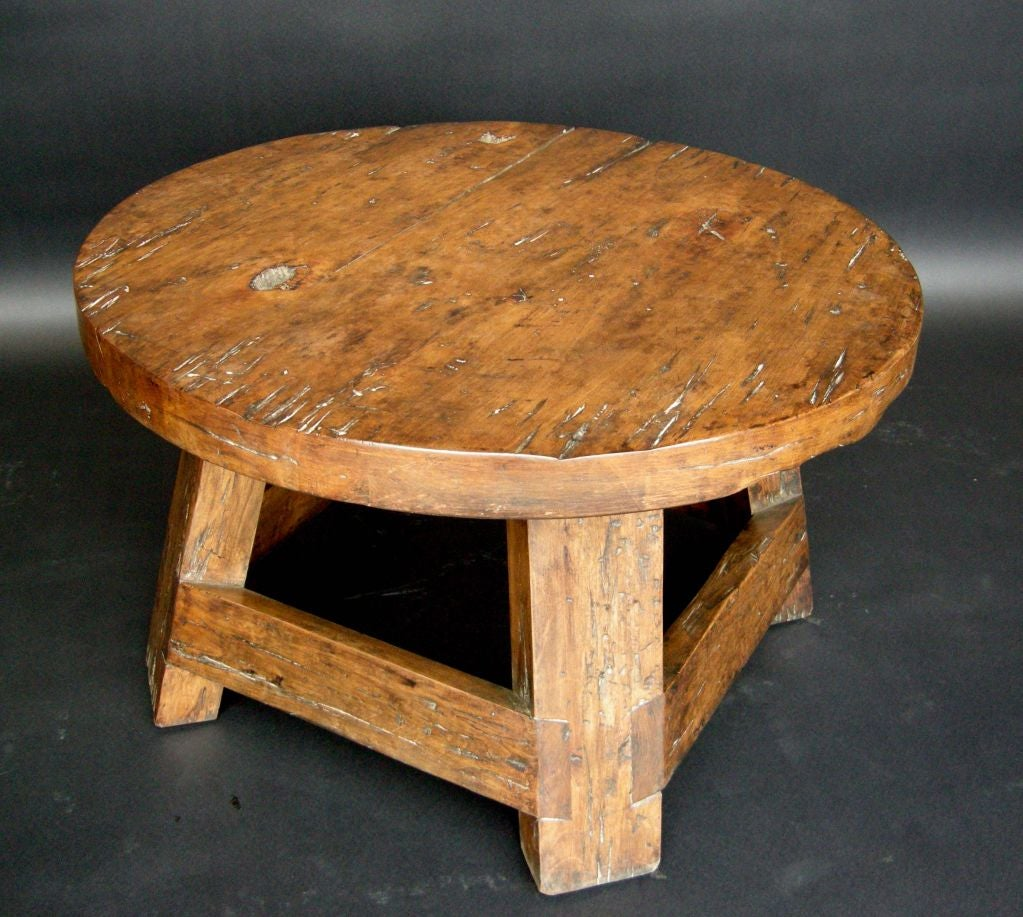 Custom round rustic tavern coffee table at 1stdibs Coffee tables rustic