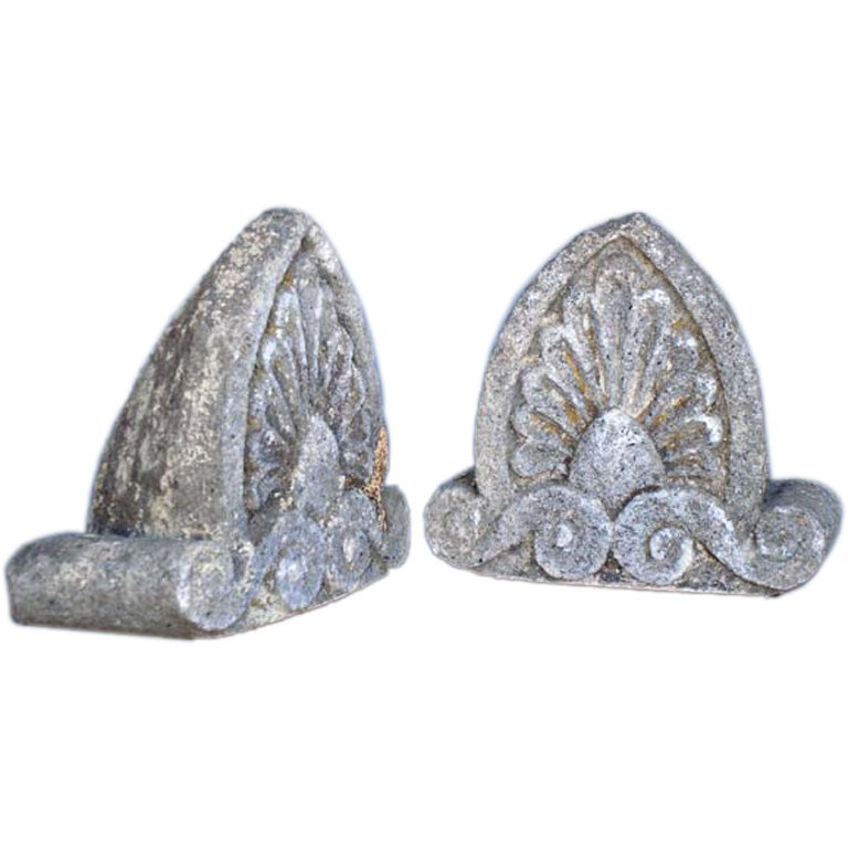 Pair of 19th Century Antique Carved Stone Pieces