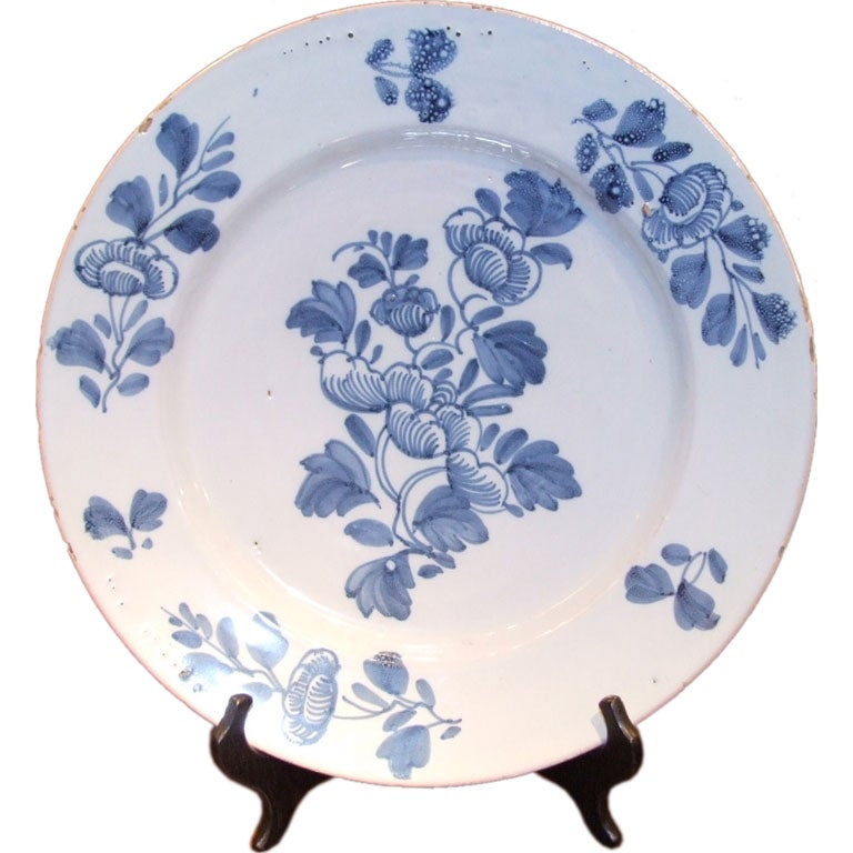 18th c. Blue and White English Delft Charger