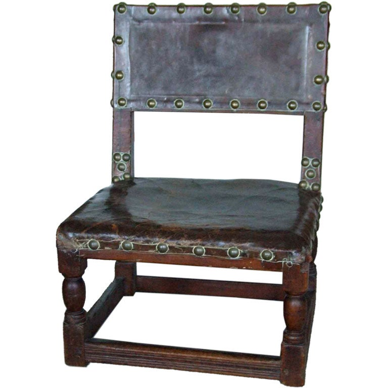 17th c English Childs Chair in Leather with Brass Studwork For – Childs Leather Chair