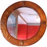 Arts and Crafts Hand-hammered Copper Round Mirror