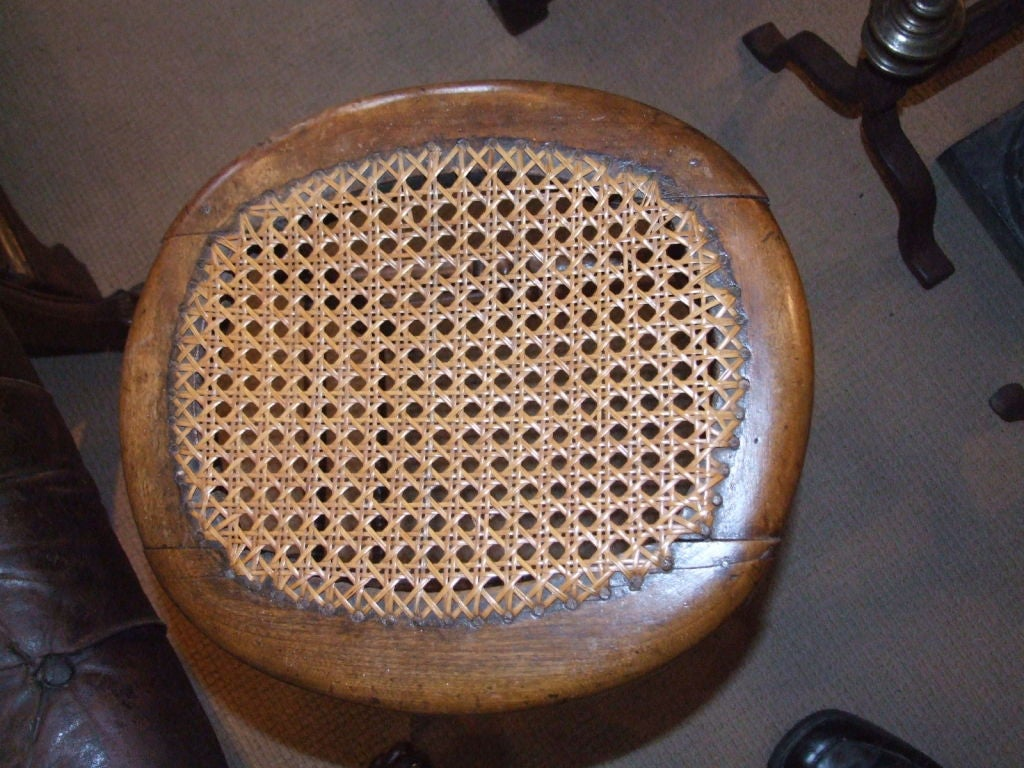 English 19th c. Turned Leg Stool with Caned Top 2