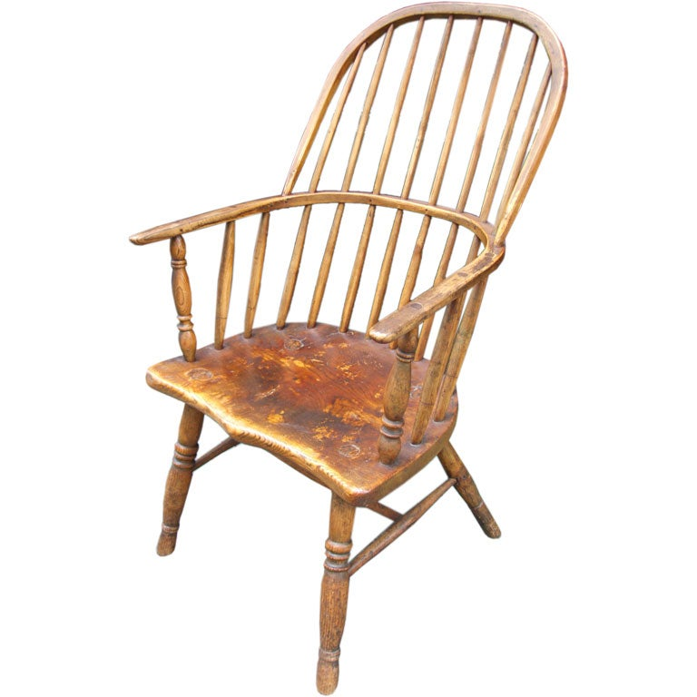 Early 19th C West Country Kitchen Windsor Armchair For