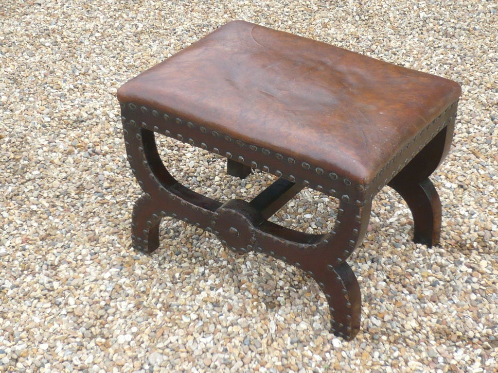 A Late 19th C Leather Covered Studded X Frame Stool At