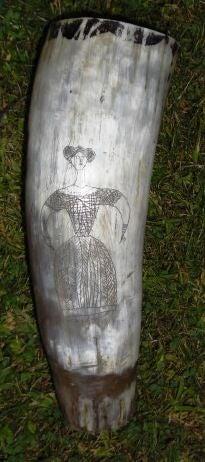 Folk Art 19th Century Scrimshaw Horn Vessel For Sale