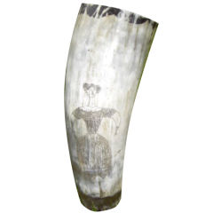 19th Century Scrimshaw Horn Vessel