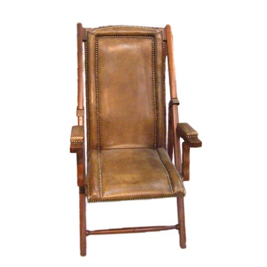 Leather Folding Campaign Chair At 1stdibs
