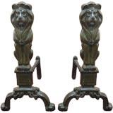 Pair of Bronze Lion Andirons