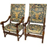 Pair of late 17th/early 18th Century Walnut and Tapestry Chairs