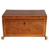George III Burl Yew Wood Tea Caddy