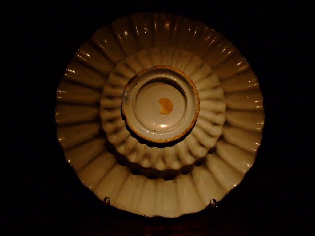 Ceramic 18th c. Dutch Delft Lobed Sweetmeat Dish For Sale