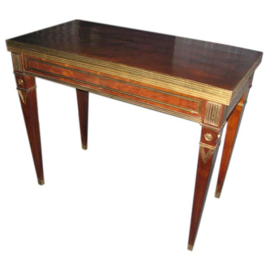 Exceptional Brass-Inlaid Card or Gaming Table in the Neoclassic Manner