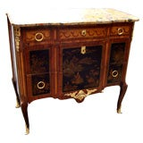 Marble-Top Lacquered and Parquetry Commode