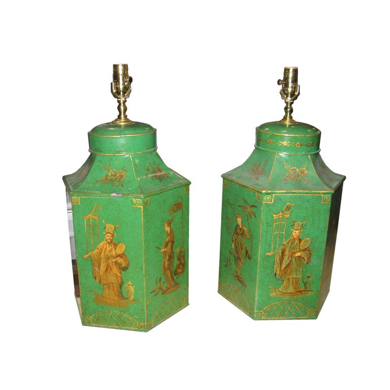 A Pair Tole Chinoiserie Canister Lamps At 1stdibs