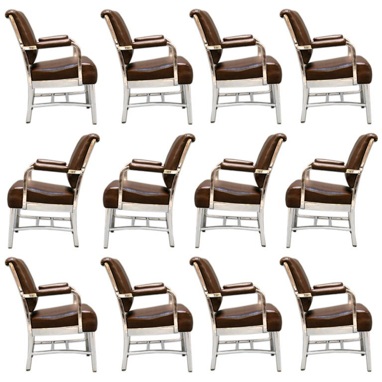 Set Of 12 General Fireproofing Aluminum Conference Chairs
