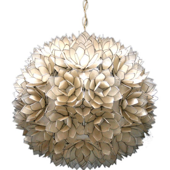 Large Beautiful Capiz Shell Ceiling Fixture At 1stdibs