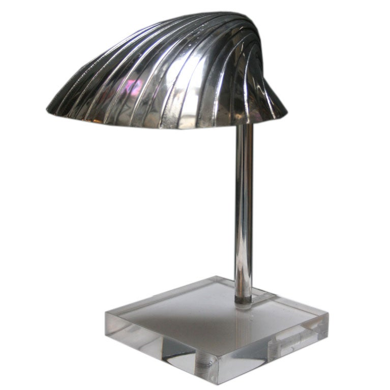 Cool Cast Aluminum Shell Shaded Desk Lamp At 1stdibs