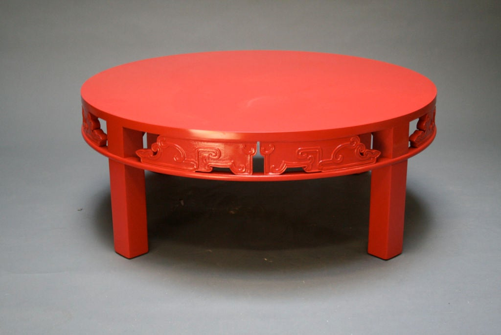 Red Lacquer Asian Theme Cocktail Table At 1stdibs