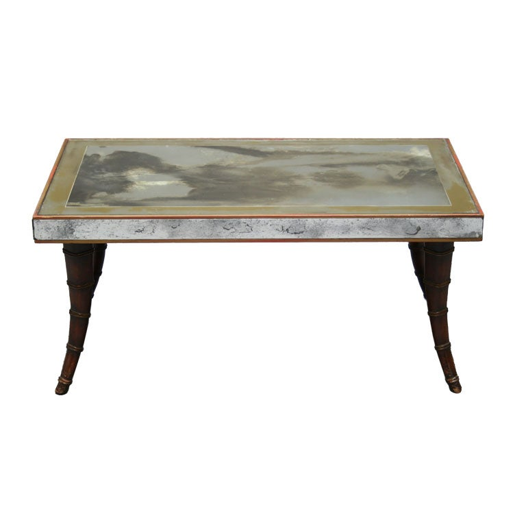 Faux Bamboo Distressed Mirror Coffee Table At 1stdibs