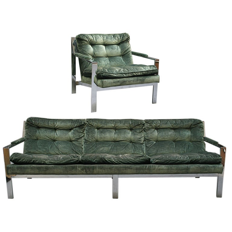 Milo baughman sofa and chair at 1stdibs for Reasonably priced living room furniture