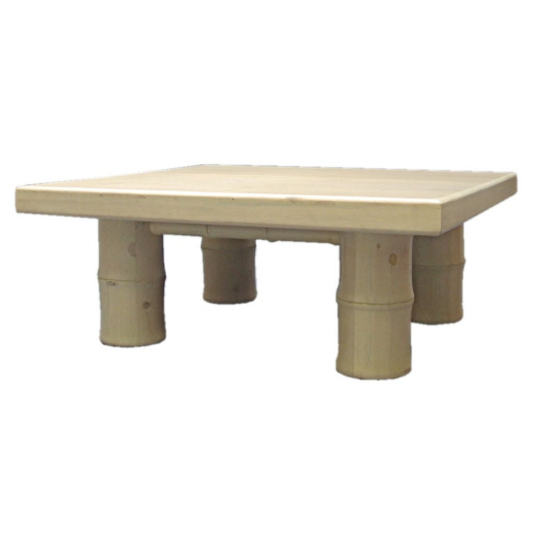White Washed Faux Bamboo Coffee Table Michael Taylor Esque At 1stdibs