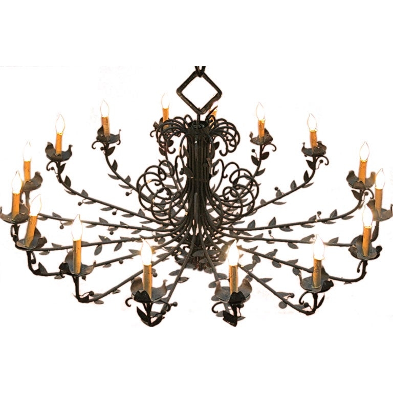 Fantastic Large Scale Wrought Iron Chandelier At 1stdibs