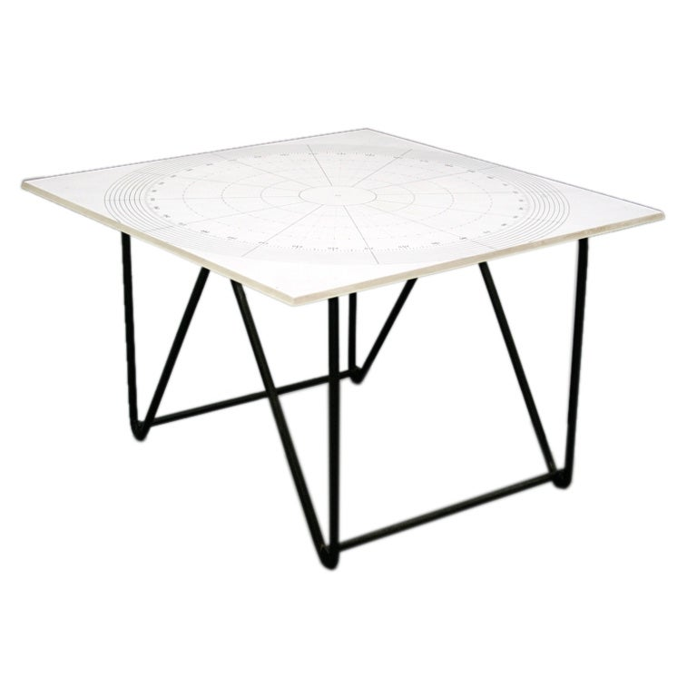 Wrought iron side table with vitrolite glass top at 1stdibs for Wrought iron and glass side tables