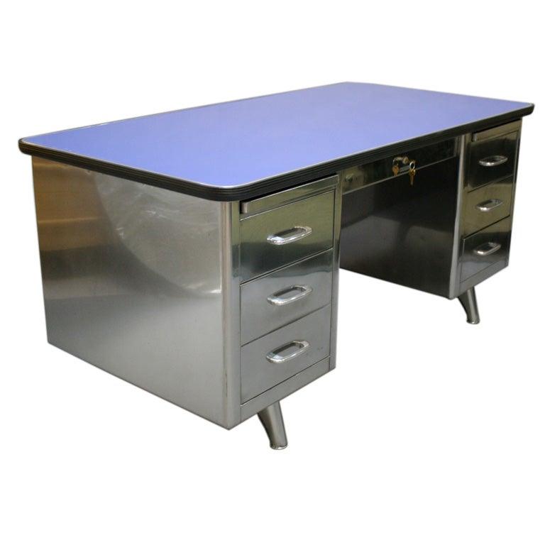 Vintage Steel Desk At 1stdibs