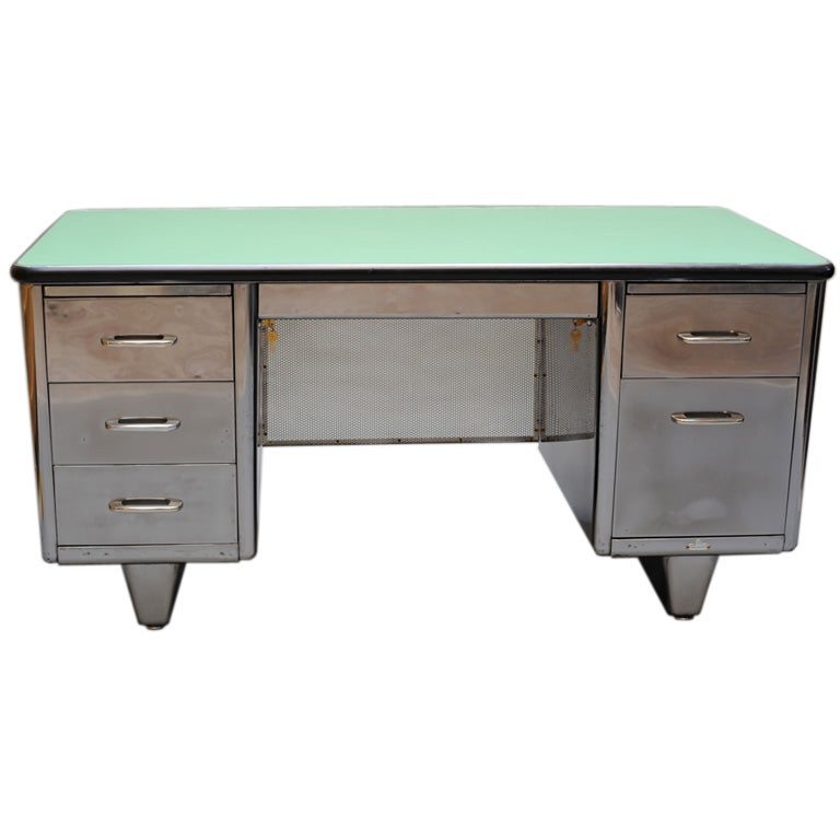 Vintage Steel Desk At 1stdibs