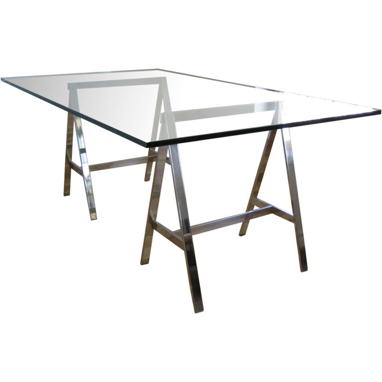 Vintage Chrome And Glass Trestle Dining Table Desk At 1stdibs